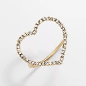 Pave Heart Stacking Ring Size 8